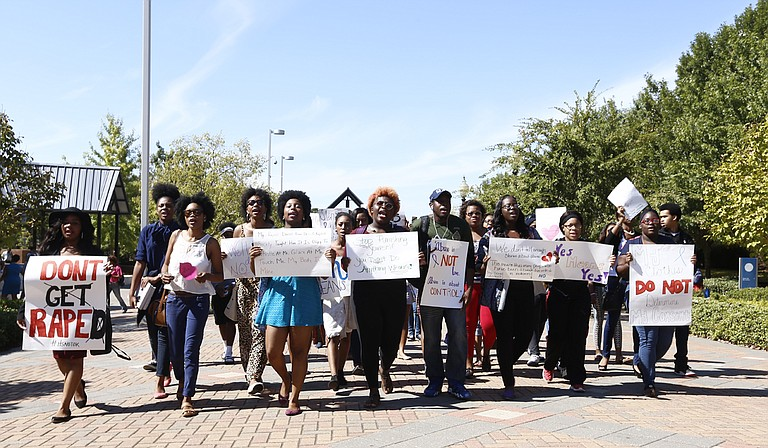 Students rally on Gibbs-Green Memorial Plaza Oct. 16, to bring awareness to sexual violence on the Jackson State campus.