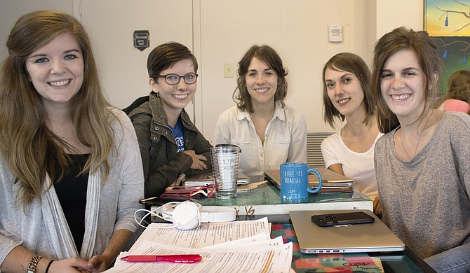 (Left to right) Katy Morgan, Olivia Coté, Kelli Gann, Shelby Parsons and Kelsey Kitch created Big House Books to provide Mississippi inmates with literature for both education and entertainment. Photo courtesy Big House Books
