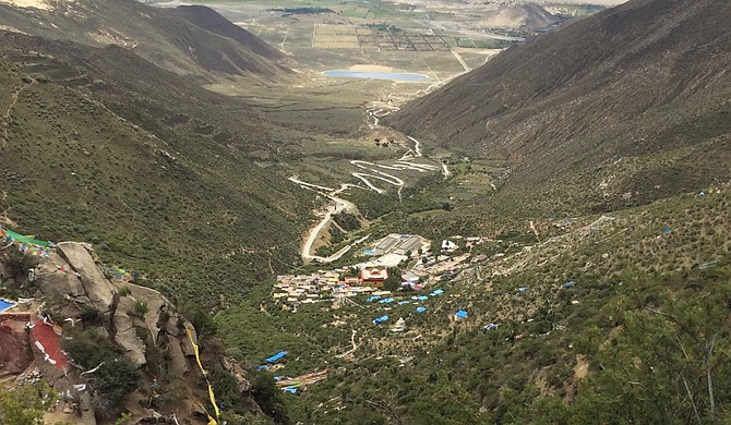 The view from Yeshe Tsogyal's hermitage at Chimpu in central Tibet Photo courtesy Genevieve Legacy