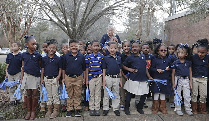 Casey Elementary School students wait for National Blue Ribbon flag raising ceremony to begin.