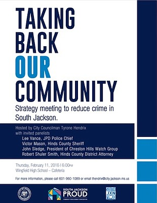 Councilman Tyrone Hendrix is planning an event to discuss crime in South Jackson.