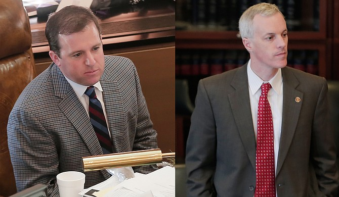 """The Senate airport """"takeover"""" bill authored by Sen. Josh Harkins, R-Flowood, (left) passed through the Senate Accountability Committee this morning; Sen. David Blount, D-Jackson, (right) voted against the bill and said the fight is about control."""