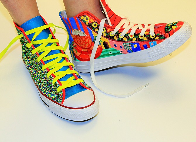 This month's Third Thursday at the Mississippi Museum of Art features sneakers from artists such as Jessica Maffia (left) and Martha Ferris (right). Photo courtesy Mississippi Museum of Art
