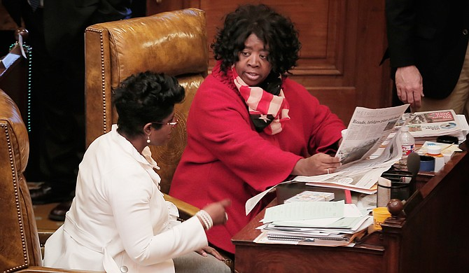 Rep. Adrienne Wooten, D-Jackson (left), and Rep. Omeria Scott, D-Laurel (right), both spoke against Senate Bill 2238 targeting Planned Parenthood, which doesn't perform abortions, and now the state's only abortion clinic.