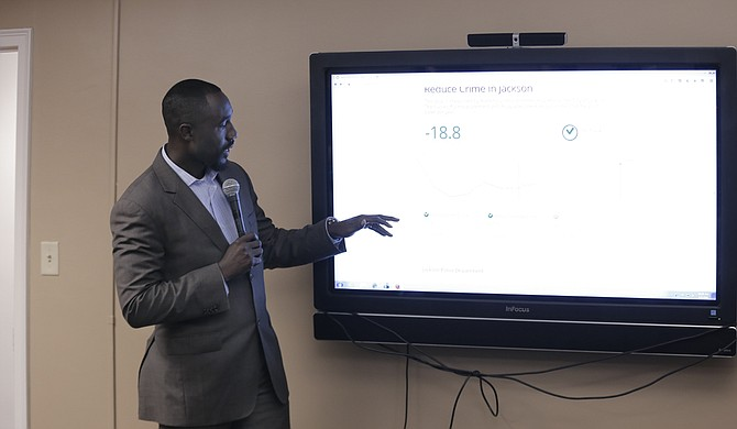 Mayor Tony Yarber pointed out his favorite parts of the City's new data portal, including a section of the site that lets citizens track road-work projects such as pothole repair.