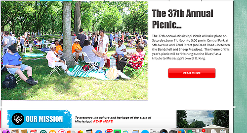 This was the front page of the site promoting the Mississippi Picnic in Central Park ...