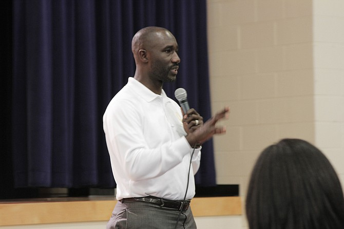 Mayor Tony Yarber asked for the public's help identifying sore spots in Jackson's infrastructure during his Listening Tour stop at Cardozo Middle School on April 26.