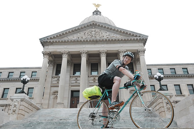 Hattiesburg native Benjamin Morris biked from Memphis to Jackson to hand-deliver the April 11 petition from 95 Mississippi writers opposing House Bill 1523 to Gov. Bryant's office.