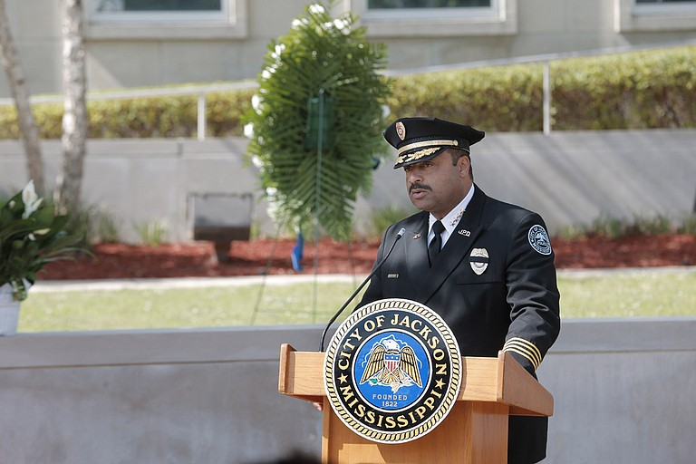 Chief Lee Vance spoke at the ceremony for fallen police officers.