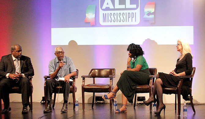 From L-R, Erik Fleming, Bro. Hollis Watkins, Bro, Abram Muhammad, Aunjanue Ellis and Cynthia Newhall led a discussion on race and moving past Mississippi's painful past.