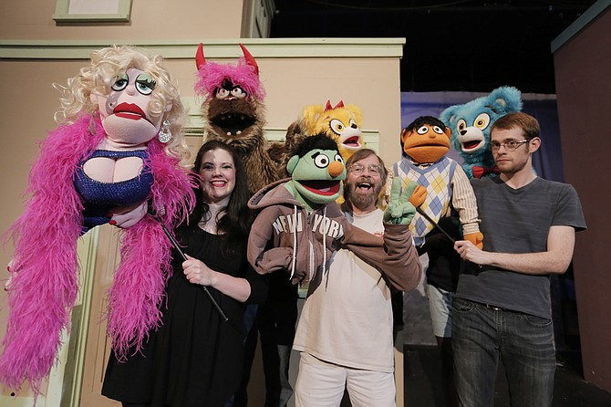 "Allen Dillon and Claire Mayronne play the Bad Idea Bears, who cause trouble for Tommy Pittman's character, Princeton, in Fondren Theater Workshop's ""Avenue Q"" at Actor's Playhouse in Pearl from July 22-24 and July 28-30."