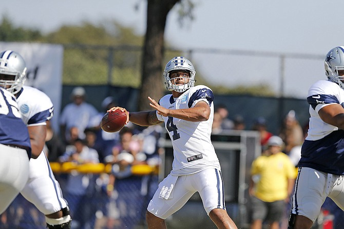 MSU alumnus and rookie quarterback for the Dallas Cowboys Dak Prescott threw for 139 yards and two touchdowns last Saturday in the Cowboys' preseason opener against the L.A. Rams. Photo courtesy James D. Smith/Dallas Cowboys
