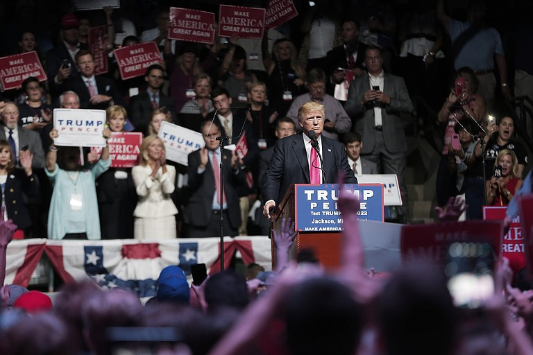 Republican presidential nominee Donald J. Trump stopped in Jackson, Miss., Wednesday night for a fundraiser and a rally at the Mississippi Coliseum.