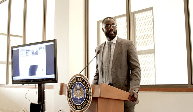 Mayor Tony Yarber addressed a small crowd at Thalia Mara Hall Thursday night for the 1 percent sales tax public information meeting, highlighting the projects as job-creators.