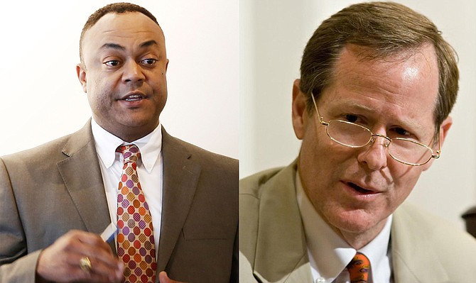 Hinds County District Attorney Robert Shuler Smith (left) may have used subpoenas as a way to force Circuit Court Judge Jeff Weill (right) to recuse himself from Christopher Butler's cases, one lawyer says. Smith is under felony and misdemeanor indictment for his actions.