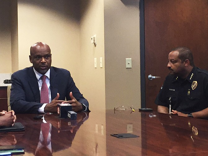 Federal liaison and former St. Louis Police Chief Dan Isom (left) and Jackson Police Chief Lee Vance (right) explained how the Violence Reduction Network would bring resources to the city to reduce violent crime.