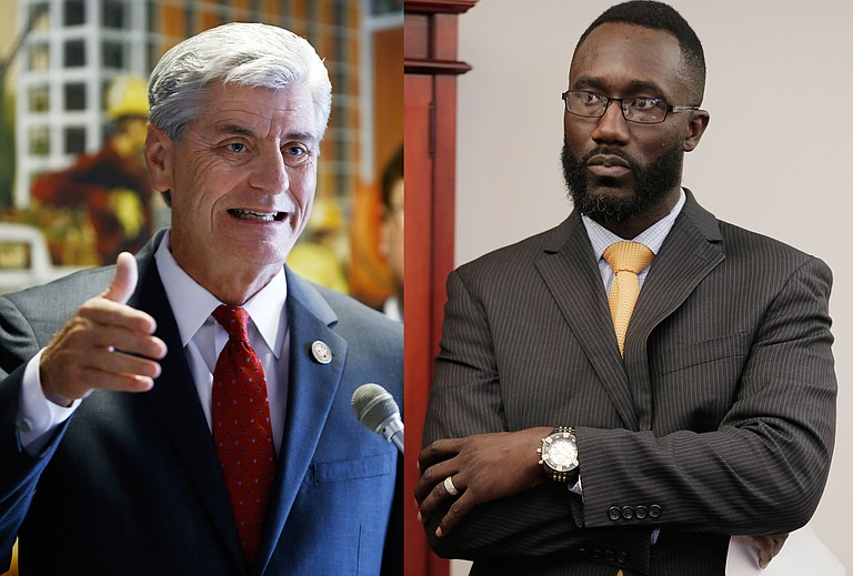 """Gov. Phil Bryant (left) called Jackson's difficulties a """"concern for the entire Metro area"""" in his recent budget recommendation to the state legislature for next year. Mayor Tony Yarber (right) and the city council sent a list of requests to the same body during their last regular meeting on Nov. 29."""