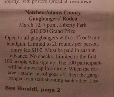 "Renaldi went into great detail of what a ""Gangbangers Rodeo"" in Liberty Park would look like."