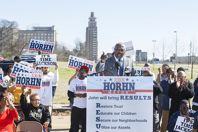 Sen. John Horhn, D-Jackson, officially announced his candidacy for mayor this morning, outlining a platform addressing Jackson's infrastructure and crime.