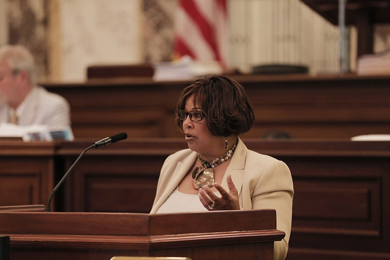 "Sen. Barbara Blackmon, D-Canton, offered an amendment to protect victims of police shootings in Senate Bill 2469; her amendment failed, and the Senate passed the ""Blue, Red and Med Lives Matter"" bill on Jan. 26."
