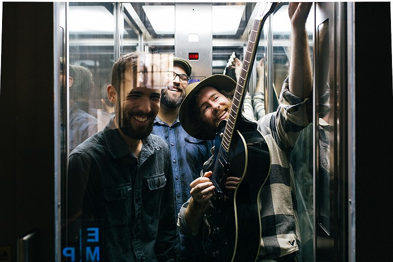 (Left to right) Pablo Delgado, Jonatan Temprano and Josh Brister of Burt Byler & the Bearded Souls perform Friday, Feb. 10, at Hal & Mal's. Photo courtesy Gloria Byler