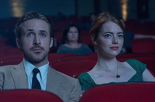 """Sebastian (Ryan Gosling) and Mia (Emma Stone) in """"La La Land."""" Photo by Dale Robinette courtesy Lionsgate"""