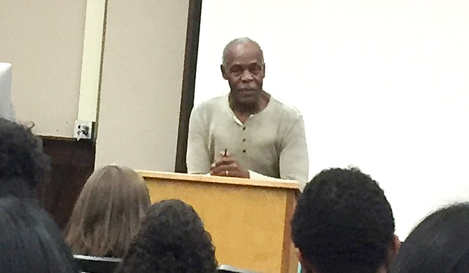 Danny Glover speaks in Oxford. Photo courtesy Joe Atkins