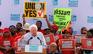 U.S. Sen. Bernie Sanders, I-Vermont, spoke at the March on Mississippi in Canton on Saturday, March 4, supporting efforts of some workers at the Nissan plant to unionize.