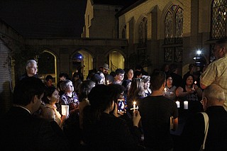 About 50 community members, pastors and advocates gathered at Fondren Presbyterian Church to hold a vigil and pray for Daniela Vargas' release from ICE's custody.