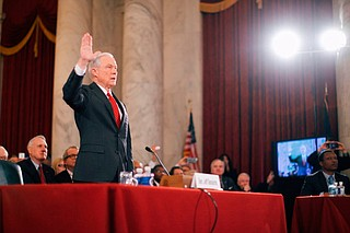 Attorney General Jeff Sessions (pictured) and his former policy staffer and now-White House strategist Stephen Miller, consider themselves Nationalists. They believe that Trump was a clear alternative to the Democrats' ideas of globalism. Sessions' speeches while campaigning for Trump reflected the importance of that point to his followers. Photo courtesy Greatagain.gov