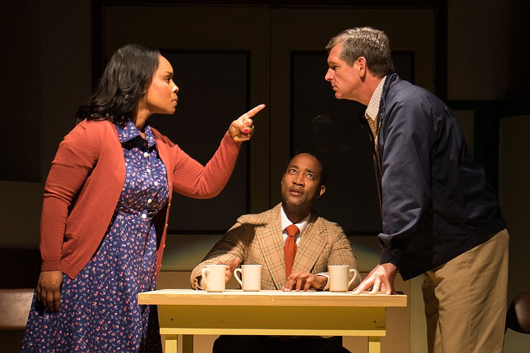 """In New Stage Theatre's production of """"Best of Enemies,"""" (left to right) Marci J. Duncan stars as Ann Atwater, Yohance Myles stars as Bill Riddick and Rus Blackwell stars as C.P. Ellis."""