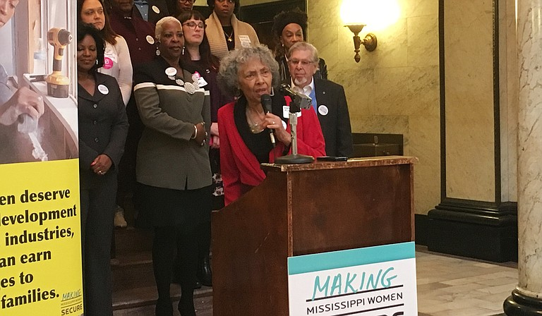 Rep. Alyce Clarke, D-Jackson, called for lawmakers to pass more legislation that supports women in the coming sessions.