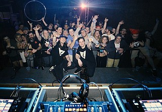 (Front left to right) Jonathan Nixon and Mitch Draper launched their monthly EDM and visual-arts event series,  the FLVSH BVNG! Art & Music Showcase, in January. Photo courtesy FLVSH BVNG