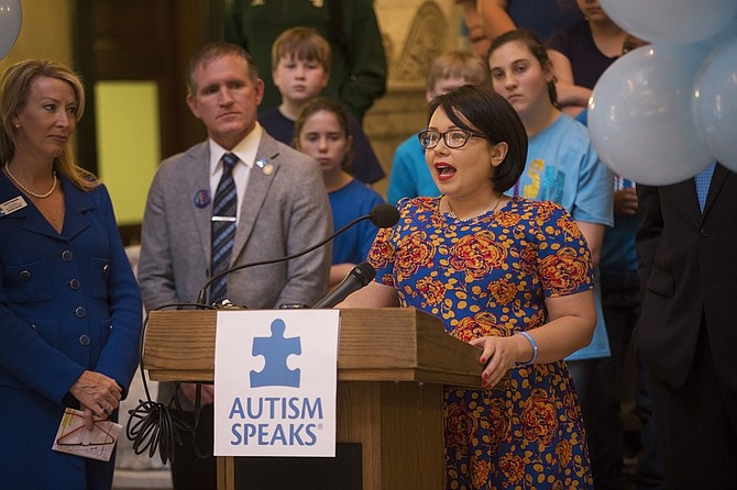 Petal native Chelsea McKinley, mother of three sons with autism, spoke at the Capitol on Monday in support of Autism Awareness Month.