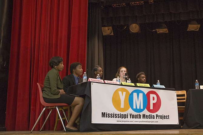 A Youth Media Project media panel asked mayoral candidates at Provine High School questions that dozens of Jackson teenagers helped brainstorm. From left: timekeeper Malaysia McCoy of Jim Hill High School; Kenytta Brown of Lanier High School; Shakira Porter of Wingfield High School; Maggie Jefferis of Murrah High School; and Dartavius Archie of Wingfield High School.