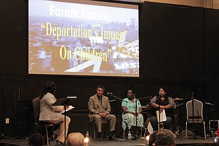 WLBT anchor Maggie Wade moderated a panel of Mississippians who work with immigrant communities about how deportations affect children on Tuesday, April 18 at the Fondren Church gym.