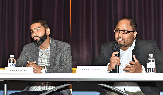 Attorney Chokwe Antar Lumumba, 33, and Corinthian Sanders, 24, were the two youngest candidates at a mayoral forum Thursday night. An older candidate, Robert Graham, made their age and maturity an issue in the heated debate. Photo courtesy William H. Kelly III