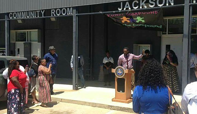"""Community activists and Jackson Free Press contributors Funmi """"Queen"""" Franklin and Brad """"Kamikaze"""" Franklin held a grand opening for the Kundi Compound, a small-business incubator in midtown, on Monday, May 1. Photo courtesy Brad Franklin"""