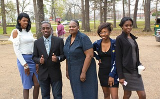 From left: Jackson mayoral nominee Jason Wells' girlfriend Lena Crosby, Wells, mother Alma Funchess, and little sister Elisha Funchess. Photo courtesy Jason Wells