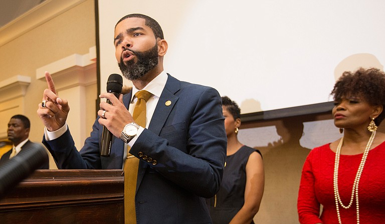 Mayor-elect Chokwe Lumumba thanks his supporters at the King Edward Hotel after winning the primary election with 23,175 votes, or 93 percent of the total vote.