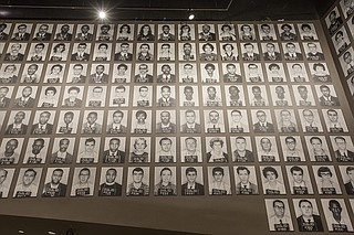 Mugshots of Freedom Riders line the walls of the Mississippi Civil Rights Museum.