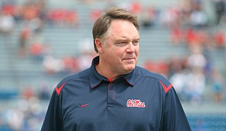 Former Mississippi coach Houston Nutt has filed a civil lawsuit against the university and its athletics foundation, alleging a breach of his severance agreement because of false statements he says school officials made during an ongoing NCAA investigation. Photo courtesy Ole Miss