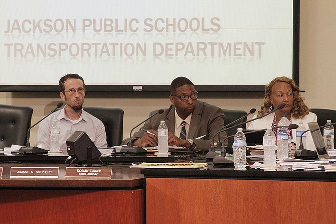The remaining members of the Jackson Public Schools Board of Trustees—Jed Oppenheim, Rickey Jones and Camille Sims (left to right)—could not approve any consent agenda items at their meeting Thursday, July 20, after Dr. Richard Lind resigned this week.
