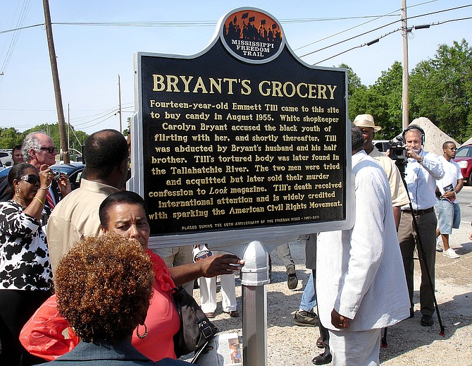 The Till marker was put up in 2011 as the first entry on the Mississippi Freedom Trail, a series of state-funded signs at significant civil rights sites. Photo courtesy Visit Mississippi
