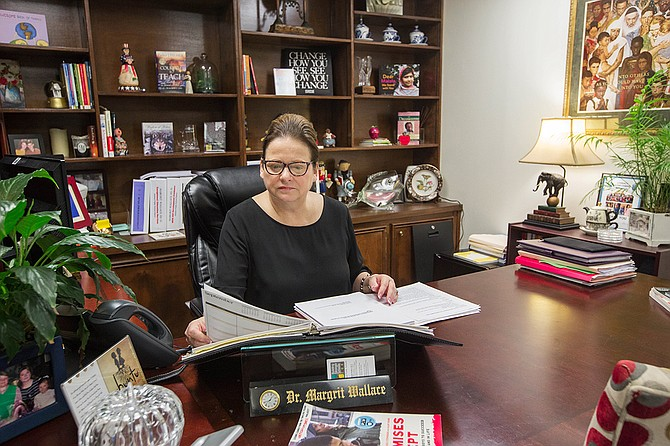 Margrit Wallace, chief academic officer of the student academic and behavioral support department at Jackson Public Schools, tracks suspension data and helps run rapid response teams to schools with high rates of suspension.