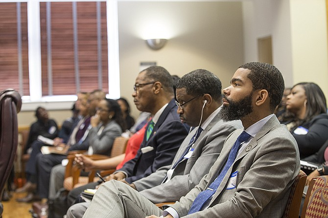 "Mayor Chokwe Antar Lumumba sits in on the Commission on School Accreditation meeting on Sept. 13 where it voted JPS is in an ""extreme emergency."" NAACP Interim President Derrick Johnson and Sen. Sollie Norwood, D-Jackson, sit to his right."