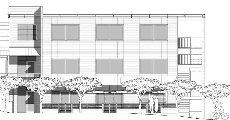 This is a partial rendering of The Precinct Fondren development at North State Street and Patton Avenue. The Jackson Planning Board rejected a patio variance for the building, which is expected to be filled with commercial development. This drawing indicates a patio on the front side. See full rendering at precinctfondren.com.