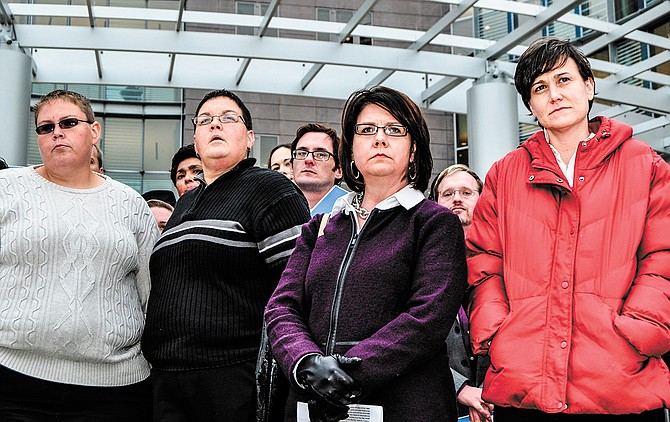 Plaintiffs in the CSE v. Bryant I case—(left to right) Rebecca Bickett, Andrea Sanders, Jocelyn Pritchett and Carla Webb—stand outside the federal courthouse in Jackson after a hearing in 2014. Trip Burns/File Photo