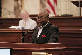 Democratic State Sen. Derrick Simmons of Greenville said Thursday that the students have a constitutional right to peacefully protest and they should not be punished for kneeling.