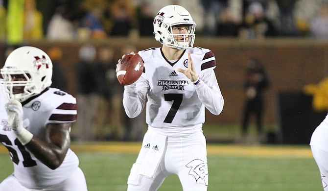 The Bulldogs (4-2) executed a balanced plan of attack and got a combined four-touchdown performance from Nick Fitzgerald—with two TDs on the ground and two through the air. Photo courtesy Kelly Price/MSU Athletics